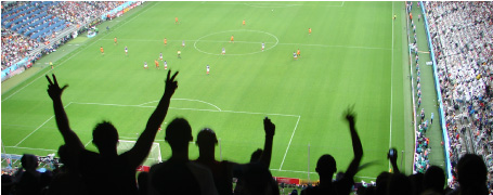サッカースタジアムにも女性が増えてきました